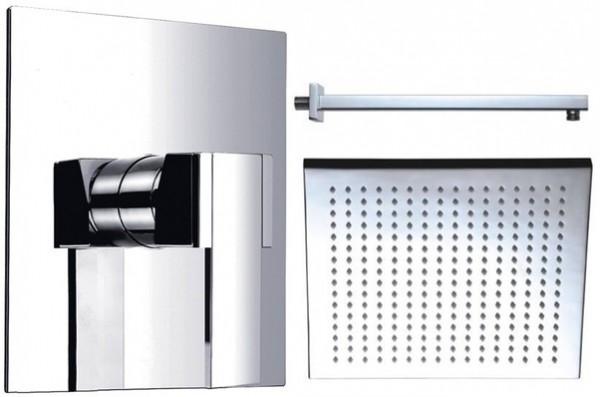 Dusch-Set 10 eckig Messing: 300 mm Regendusche Kopfbrause Duschkopf Unterputz Set