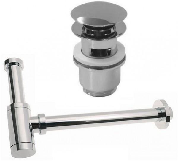 Design Siphon Sifon 180x350 mm + 1 Ablaufventil PushUp mit Überlauf (17000/2030)