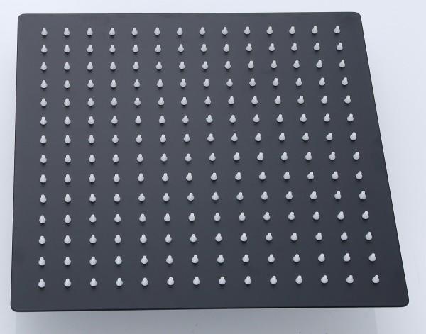 Schwarzer Duschkopf aus Edelstahl 304 mit 20 cm x 20 cm quadratisch