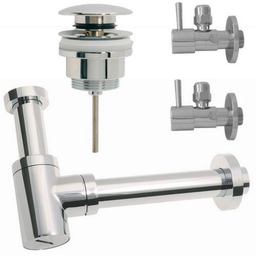 Siphon Sifon Waschtisch Bidet 85X300mm 2Eckventil 1Ablaufventil mit und ohne Überlauf