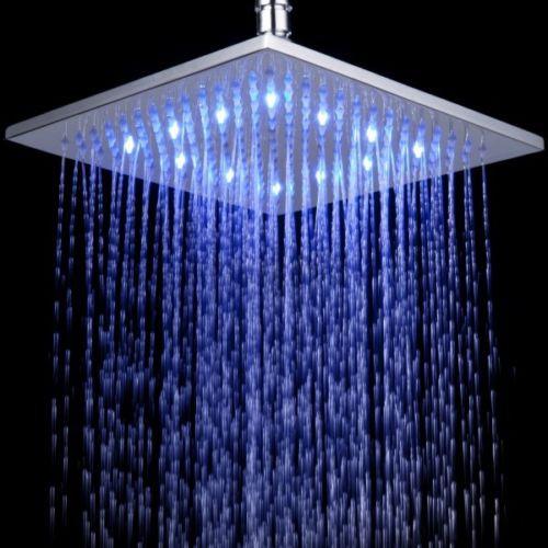 LED Brausedusche eckig 400 mm massives Messing verchromt Duschbrause Regendusche