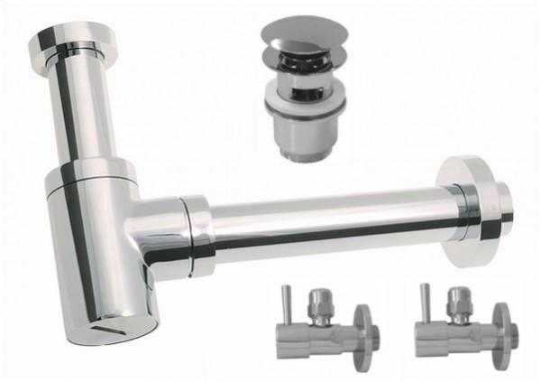 Siphon Sifon Waschtisch Bidet 85X300mm 2Eckventil 1Ablaufventil PushUp T mit Überlauf