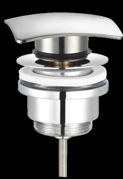 Design Ablaufventil Ablaufgarnitur QuattroPush-Up 7110 mit / ohne Überlauf massiv Messing verchromt