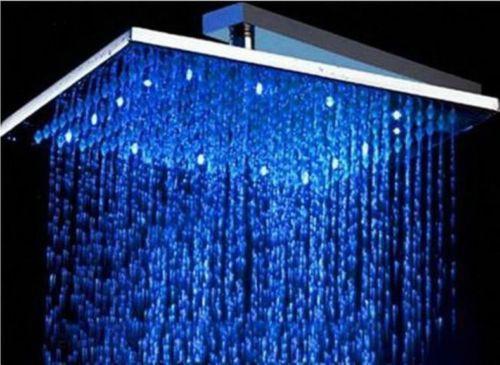 LED Brausedusche eckig 400 mm Duschbrause Regendusche massives Messing verchromt