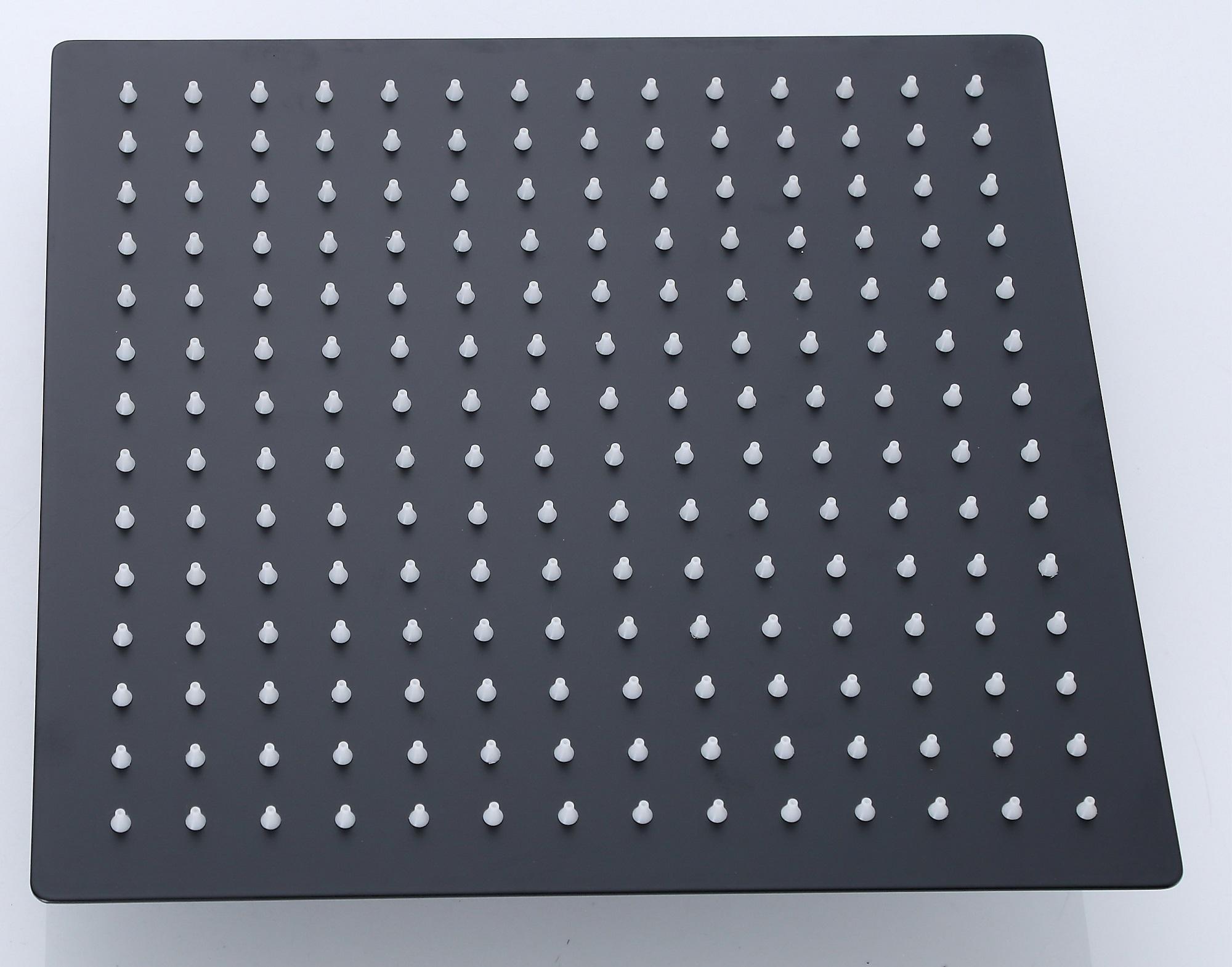 Design Duschkopf in edlem Schwarz, 20 x 20 cm quadratisch aus Edelstahl, 50120qs