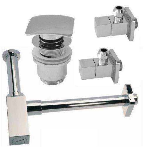 Design Siphon Sifon 2 Eckventil 1 Ablaufventil PushUp Q mit Überlauf