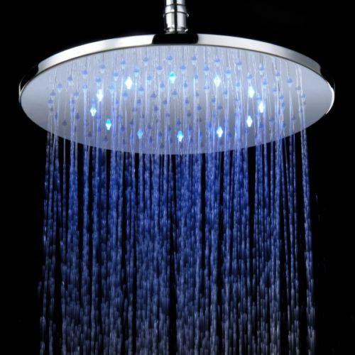 LED Brausedusche rund 400 mm Duschbrause Regendusche rund Messing verchromt